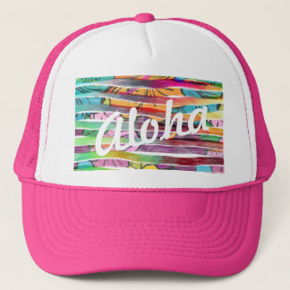 Vibrant Colorful Painted Brush Stripes Hawaiian Trucker Hat