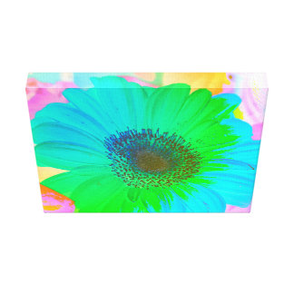 Vibrant Colorful Pastel Gerber Daisy Gallery Wrapped Canvas