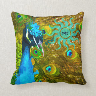 Vibrant Colorful Peacock in Vivid Blue Green Gold Throw Cushion