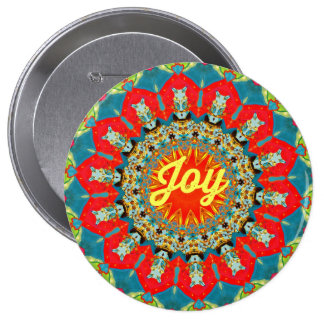 "Vibrant Colorful Spreading ""Joy"" Abstract Circles 10 Cm Round Badge"