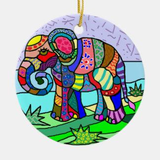 Vibrant colors folcloristic elephant painting christmas ornament