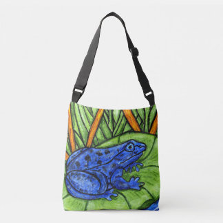 Vibrant Colors Painting Blue Frog Lily Pad Grass Crossbody Bag
