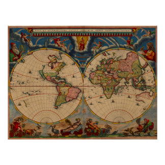 Vibrant Colors Vintage Old World Map Poster
