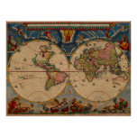 Vibrant Colours Vintage Old World Map Poster