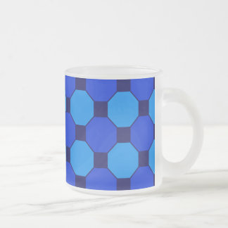 Vibrant Cool Blue Squares Hexagons Tile Pattern Frosted Glass Mug