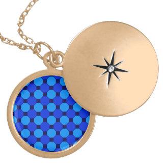 Vibrant Cool Blue Squares Hexagons Tile Pattern Necklace