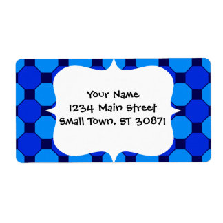 Vibrant Cool Blue Squares Hexagons Tile Pattern Shipping Label