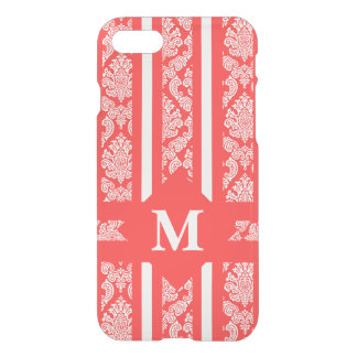 Vibrant Coral and White Summer Damask and Stripes iPhone 8/7 Case