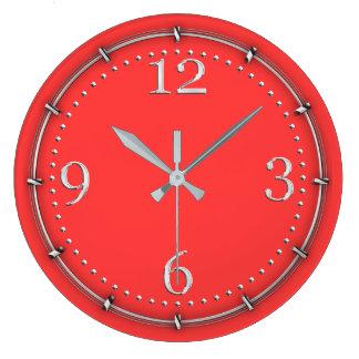 Vibrant Coral Color Decor on a Large Clock