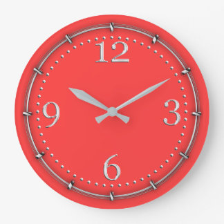 Vibrant Coral Color Decor on a Wall Clock