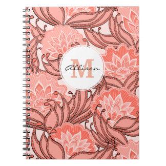 Vibrant Coral Floral Pattern Monogrammed Spiral Notebook