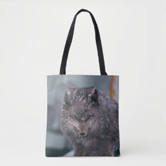 Vibrant Cute Arctic Blue Phase Fox Winter Scene Tote Bag