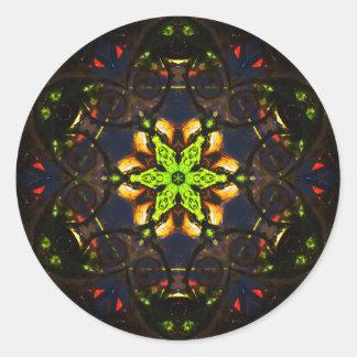 Vibrant Darkness Mosaïc Mandala Classic Round Sticker