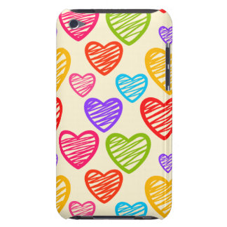 Vibrant doodled hearts iPod Touch Case
