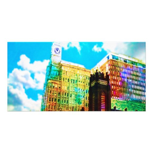 vibrant downtown customized photo card