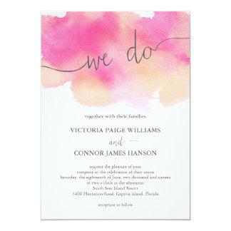 """Vibrant Dreams Wedding Invitation / Pink Peach 5"""" X 7"""" Invitation Card"""