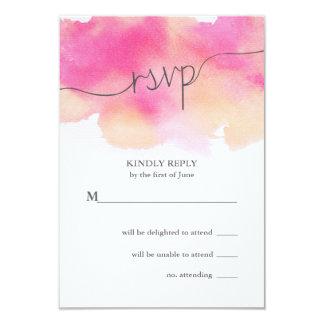 Vibrant Dreams Wedding RSVP Card / Pink & Peach 9 Cm X 13 Cm Invitation Card