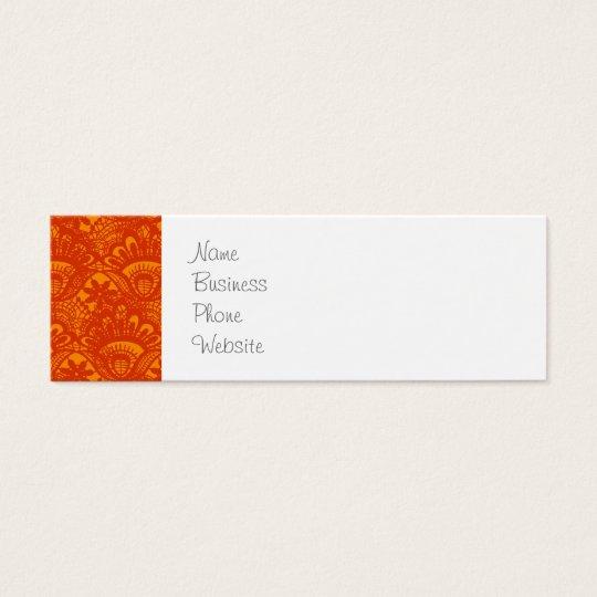 Vibrant Elegant Orange Damask Lace Girly Pattern Mini