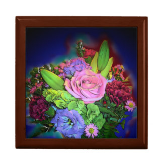vibrant floral bouquet large keepsake box