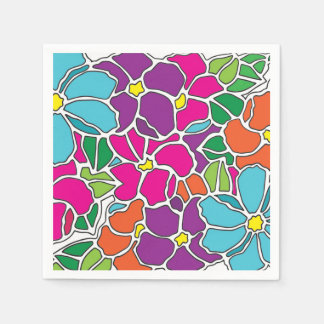 Vibrant Floral Stained Glass Paper Napkin