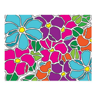 Vibrant Floral Stained Glass Postcard