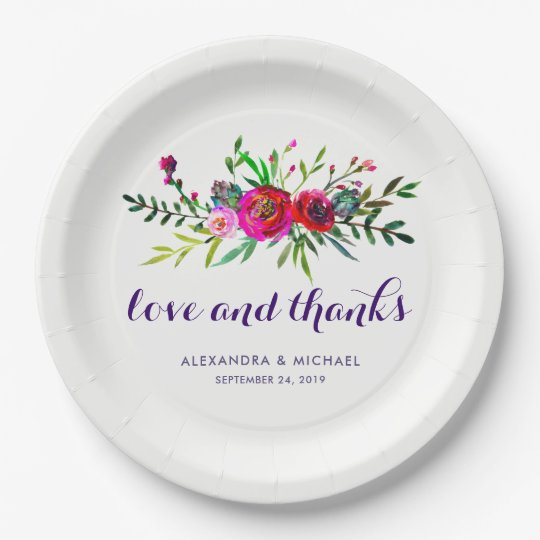 Vibrant Floral Watercolor Wedding Love and Thanks Paper Plate