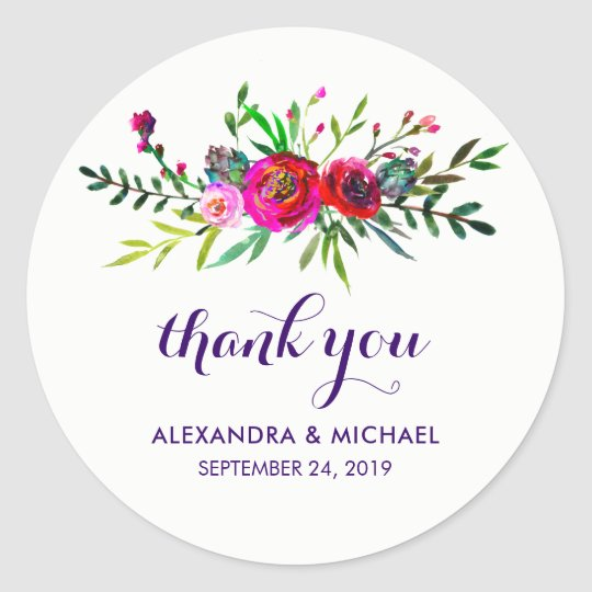 Vibrant Floral | Watercolor Wedding Round Sticker