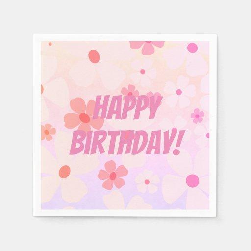 Vibrant Flower Power Happy Birthday Disposable Napkin