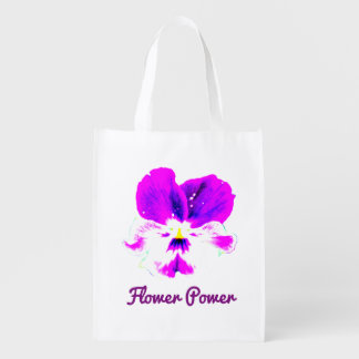 Vibrant Flower Power Reusable Grocery Bag