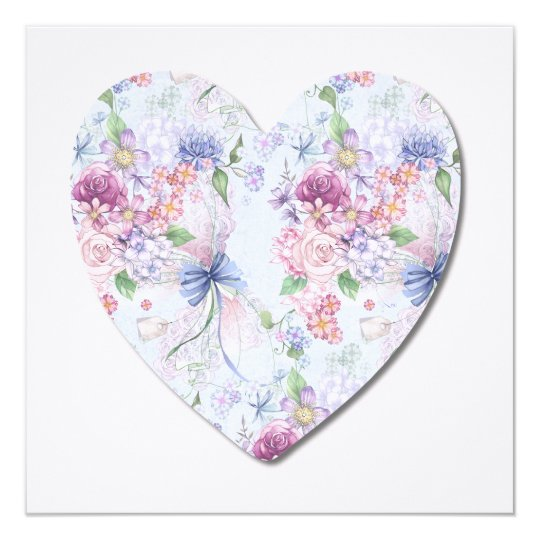 Vibrant Flowers in a Heart Illustrated Flat Card