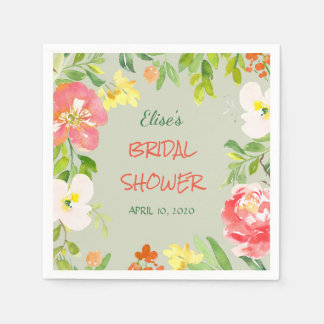 Vibrant Garden Floral Border Bridal Shower Paper Serviettes