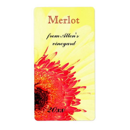 vibrant gerbera daisy wine bottle label