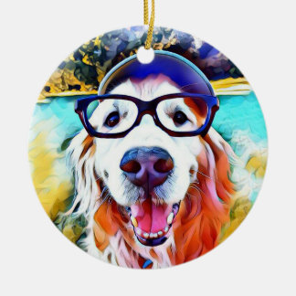Vibrant Golden Retriever Nerd Glasses Painting Christmas Ornament