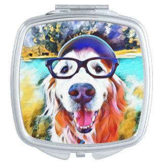 Vibrant Golden Retriever Nerd Glasses Painting Compact Mirrors