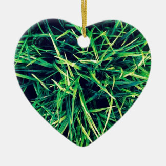 Vibrant grass ceramic heart decoration