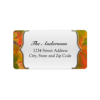 Vibrant Green and Red Fall Leaves Label