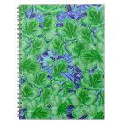Vibrant Green Blue Vintage Flowers Notebook