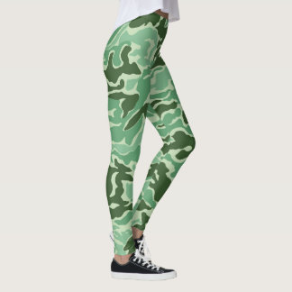 Vibrant Green Camouflage pattern Leggings