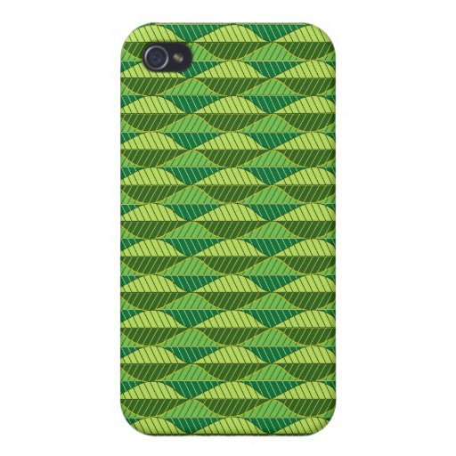 Vibrant Green Leaves Pattern iPhone 4 Covers