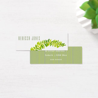 VIBRANT GREEN WATERCOLOUR FERN FOLIAGE ADDRESS MINI BUSINESS CARD