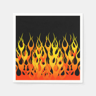 Vibrant Hot Classic Racing Flames on Fire Paper Napkin