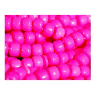 Vibrant Hot Pink Bead Print Postcard