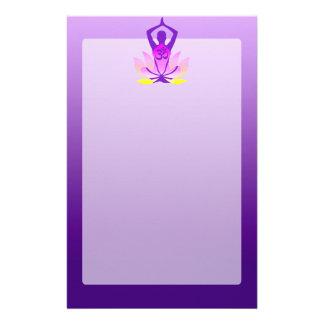 Vibrant Hue Om Lotus Yoga Pose Customized Stationery