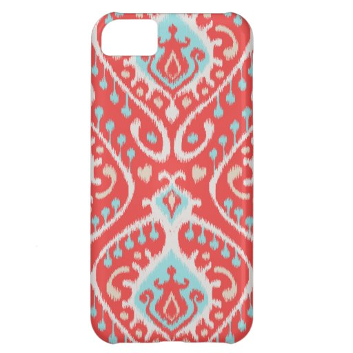 Vibrant ikat pattern in red and turquoise iPhone 5C cases