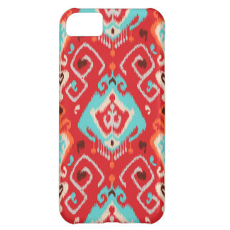 Vibrant ikat pattern in red and turquoise iPhone 5C case