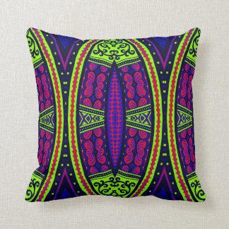 Vibrant jewelled tribal geometric cushion