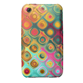 Vibrant Large Diagonal Circles in Squares Asst Col iPhone 3 Cases