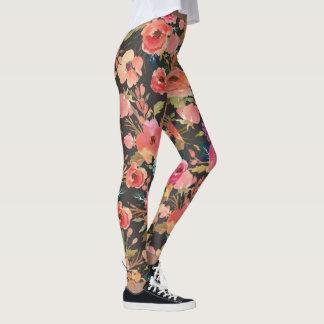 Vibrant leggings, with black and salmon peonies leggings
