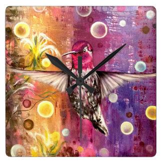 Vibrant Magenta Hummingbird Wall Clock