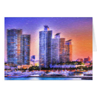 Vibrant Miami Skyline Sunrise Greeting Card